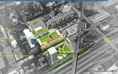 A rendering of the four-phase redevelopment project for Cook County's central medical campus, which could cost upwards of 00 million in private funds to complete. | Courtesy Cook County Board of Commissioners.