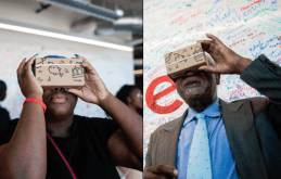 Nikyah Little, left, and U.S. Rep. Danny K. Davis (7th), experience Google Cardboard viewers, which take wearers on a wraparound 3-D trip of virtual reality. Davis hosted a youth tech summit on June 17 at Google's new Chicago headquarters in the West Loop. | William Camargo/Staff