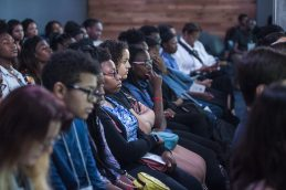 Students from Chicago and surrounding suburbs listen to presentations made during Davis's youth tech summit at Google Chicago. | William Camargo/Staff