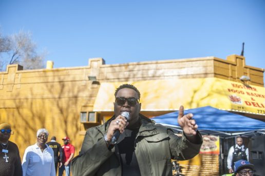 Marseill Jackson speaks to the volunteers and attendees of a block party that he put on, in which organizations also brought resources for the residents on Saturday February 18, 2017.