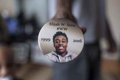 A view of a photo of Elijah Sims on Friday March 31, 2017, who was killed last year in August while visiting friends in the Austin neighborhood of Chicago. His family had moved to Oak Park because the west side was too violent.