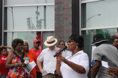 Ald. Emma Mitts (37th), during an event in front of the nonprofit's headquarters.. | Photo courtesy of Westside Health Authority