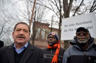 "IN SOLIDARITY: Cook County Commissioner Jesus ""Chuy"" Garcia joins Brandon Johnson, center, a candidate for the 1st District commission seat, and Anthony Steward, of Black Workers Matter, outside of an Aryzta bakery in Galewood on Dec. 11. 