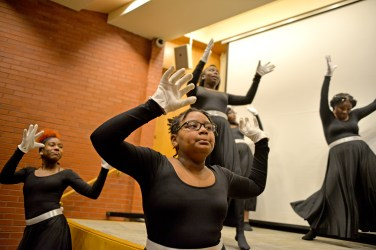 Fit for a king: The Ella Flagg Young Elementary School Praise Dancers, perform for an audience on Monday, during the Dr. Martin Luther King, Jr. celebration and health fair at West Suburban Medical Center in Oak Park. | ALEXA ROGALS/Staff Photographer