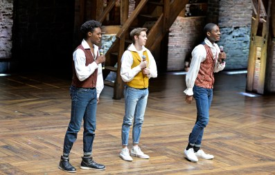 "Kenosha Bradford High School students perform ""Fire"" last Wednesday, during the Hamilton's Education Program at the CIBC Theatre on Monroe Street in downtown Chicago. 