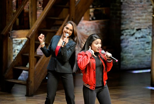 Students from Noble-Pritzker College Prep perform together on Wednesday, during the Hamilton's Education Program at the CIBC Theatre on Monroe Street in downtown Chicago. | ALEXA ROGALS/Staff Photographer