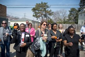 NEW DIGS: Attendees cheer as officials start the ceremony last Wednesday, during a groundbreaking ceremony for the New Moms affordable housing development going up on Chicago Avenue in Oak Park. | ALEXA ROGALS/Staff Photographer