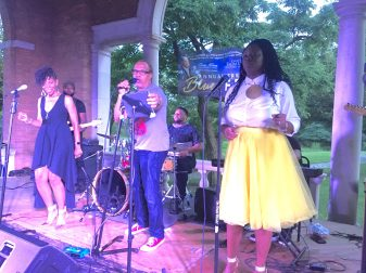 Marie Levon Band with singers Tina, Rocky and Sharon Monique at 4th annual West Side blues fest in Columbus Park Aug. 31, 2018