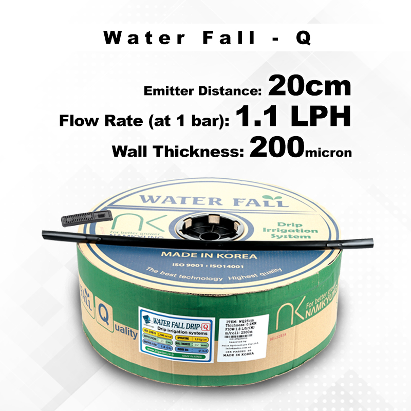 Drip Tape Water Fall-Q | 1.1 L/Hr 20cm