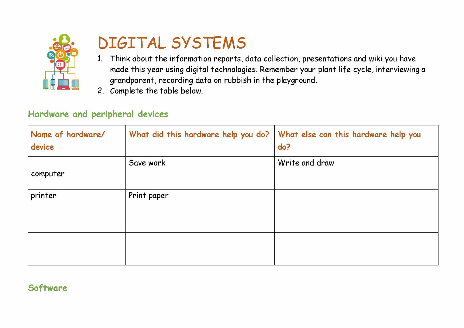 Worksheet Digital Systems