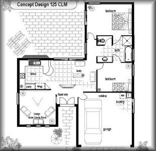 Small House Plan No 125CLM : 2 Bed + 1 Bath + Double