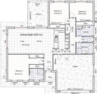 3 Bedroom House Plan No 182SB : 3 Bed + 2 Bath + 2 Car