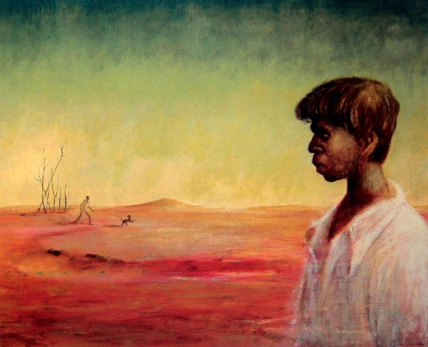 Russell Drysdale. Aboriginal Boy in a Landscape, c. 1949