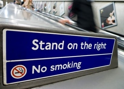 Stand on the right tube london