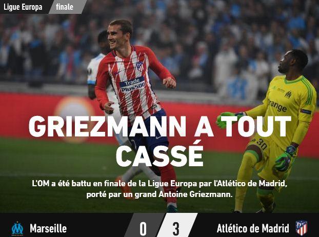 Griezmann et l'Atlético mettent fin au rêve de l'OM en finale de la Ligue Europa
