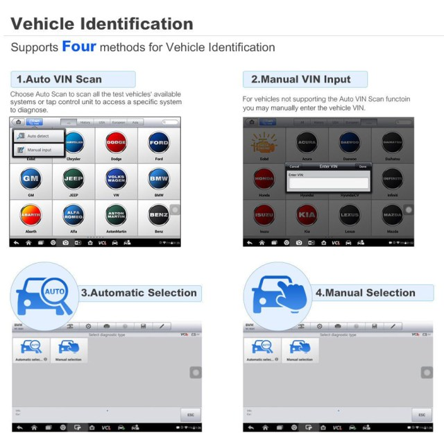 MK808BT Supports 4 methods for Vehicle Identification