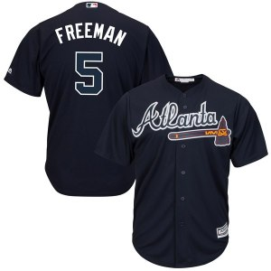 Men's Atlanta Braves Freddie Freeman Majestic Navy Alternate Cool Base Player Jersey