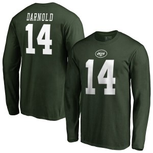 Men's New York Jets Sam Darnold NFL Pro Line by Fanatics Branded Green Team Authentic Stack Name & Number Long Sleeve T-Shirt