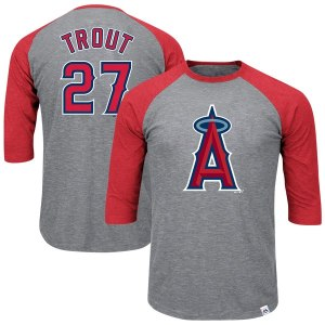 Men's Los Angeles Angels Mike Trout Majestic Heathered Gray/Red Big & Tall Player Raglan 3/4-Sleeve T-Shirt