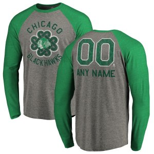Men's Chicago Blackhawks Fanatics Branded Heathered Gray Personalized St. Patrick's Day Luck Tradition Long Sleeve Tri-Blend Raglan T-Shirt