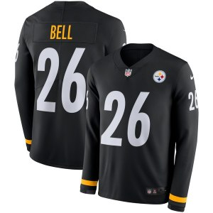 Men's Pittsburgh Steelers Le'Veon Bell Nike Black Therma Long Sleeve Jersey