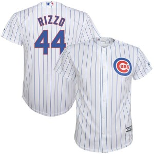 Youth Chicago Cubs Anthony Rizzo Majestic White/Royal  Home Cool Base Player Jersey