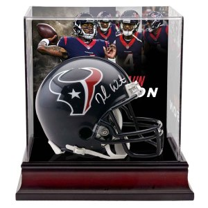 Autographed Houston Texans Deshaun Watson Fanatics Authentic Riddell Mini Helmet with Deluxe Mini Helmet Case