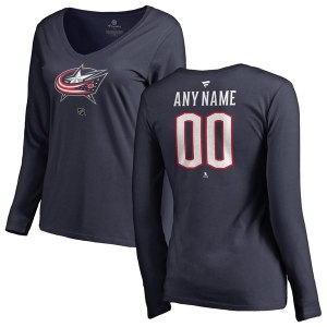 Women's Columbus Blue Jackets Fanatics Branded Navy Personalized Team Authentic Long Sleeve V-Neck T-Shirt