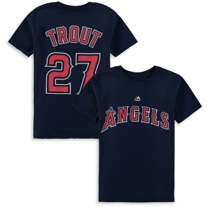 Youth Los Angeles Angels Mike Trout Majestic Navy Player Name & Number T-Shirt