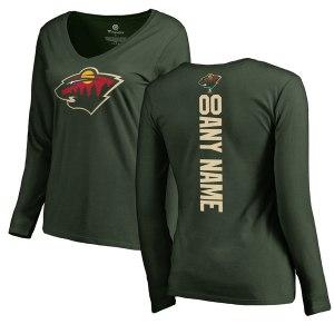 Women's Minnesota Wild Fanatics Branded Green Personalized Backer Long Sleeve T-Shirt