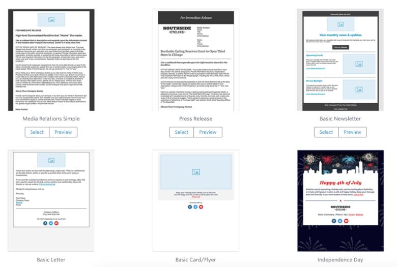 Libreria di modelli di email di contatto costante