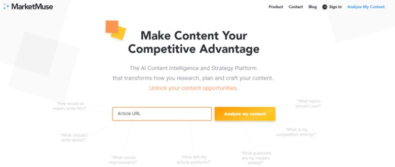 Homepage di Marketmuse