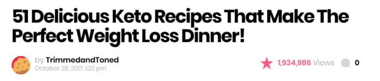 Esempio del titolo di ricette di Keto