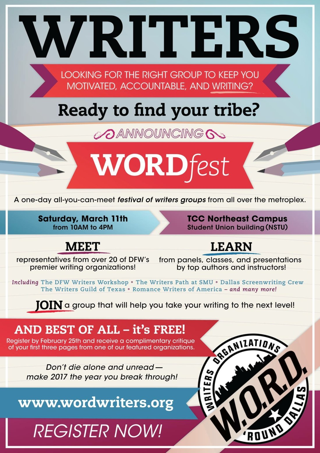 Wordfest – A free all-you-can-meet festival of DFW-area writing groups!