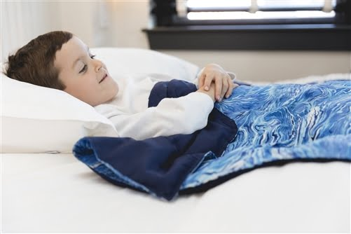 Sleep Tight Weighted Blanket in Blue Waves and Navy Blue Back