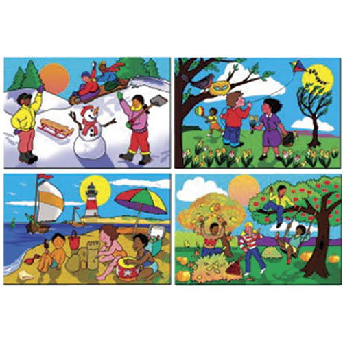 Four Seasons Cardboard Floor Puzzle Set of 4