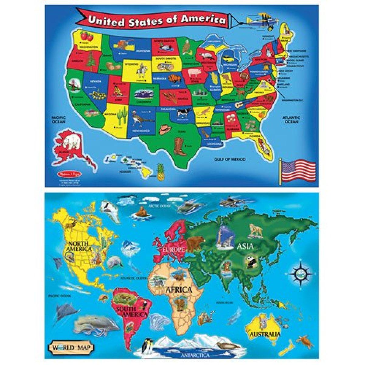 Melissa & Doug USA and World Maps Floor Puzzle Set