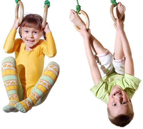 kids on gym rings