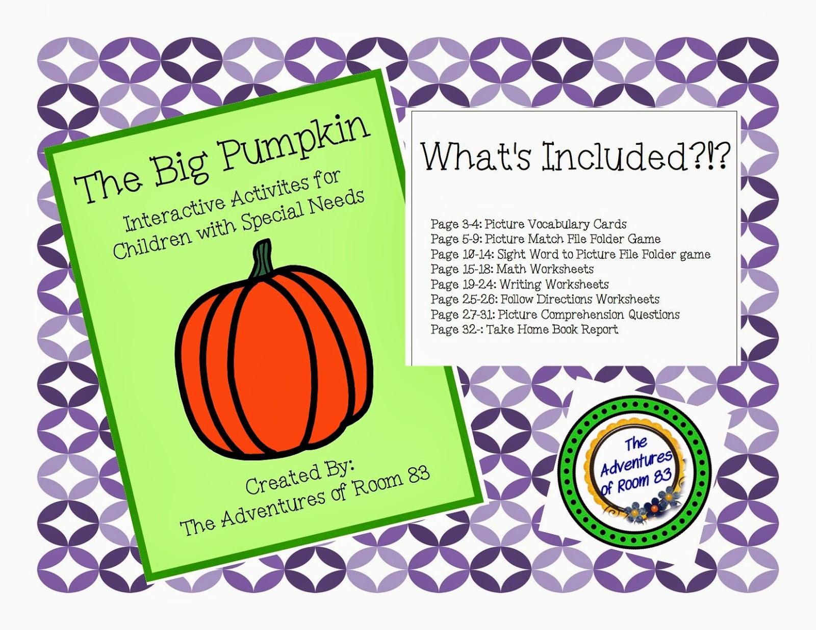Book Of The Month For October Big Pumpkin Autism Adventures