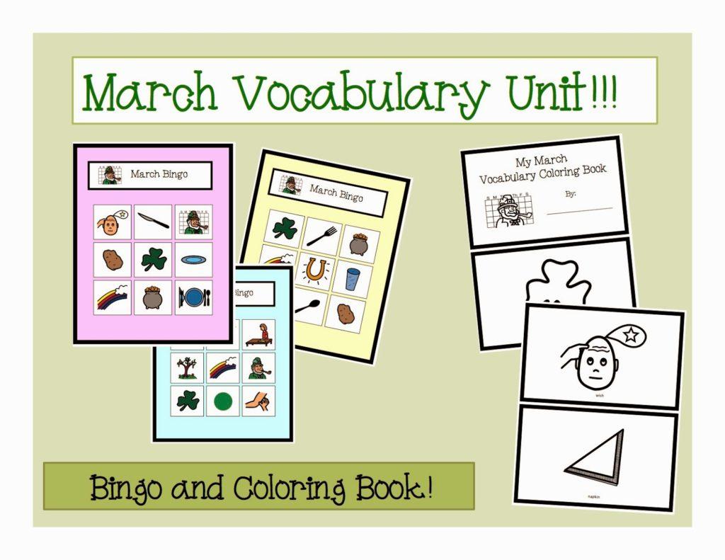 March Vocabulary Unit Autism Adventures