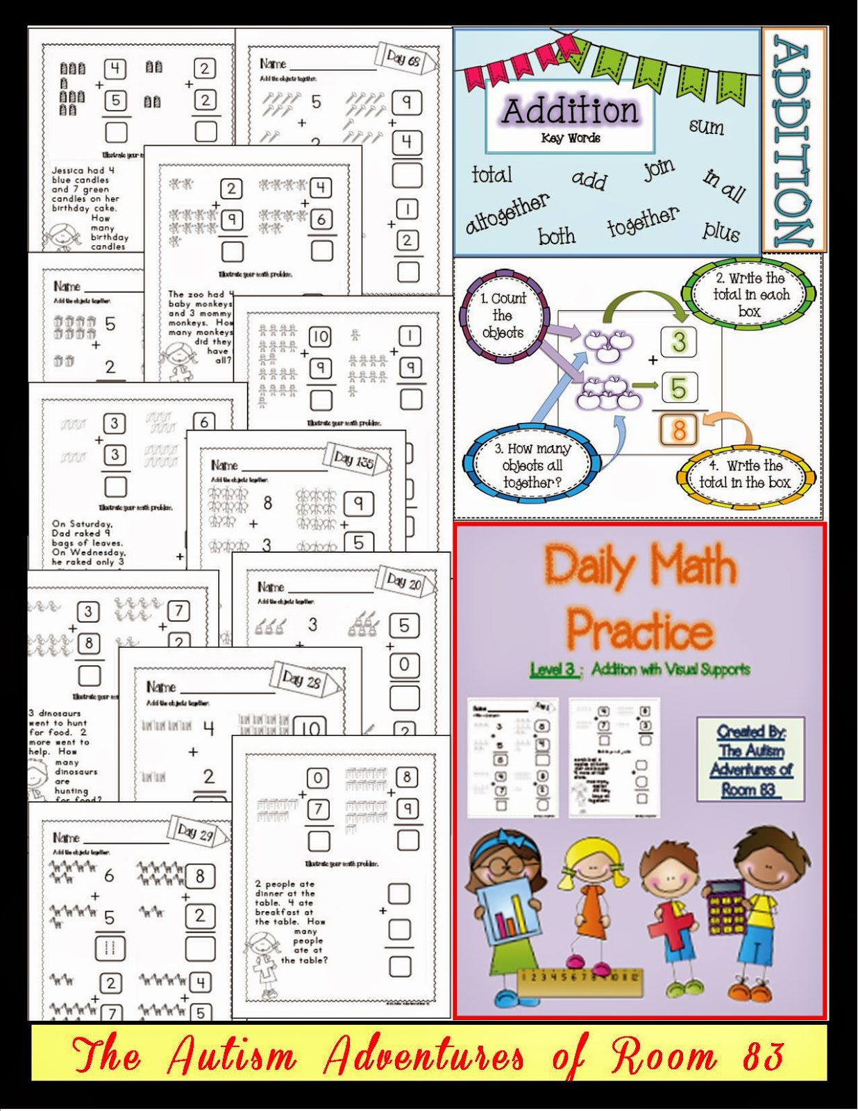 Daily Math Practice Level 3 Addition With Visuals