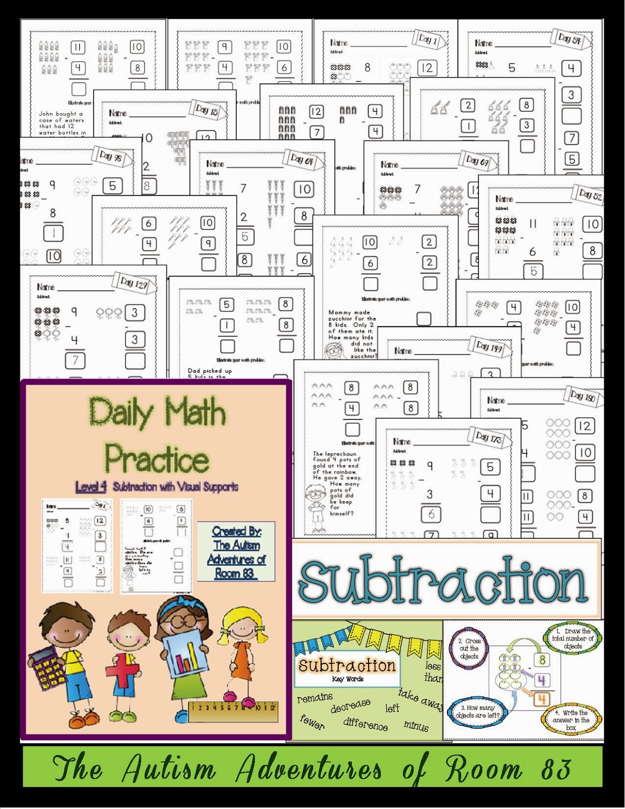 Daily Math Practice Level 4 Subtraction With Visuals