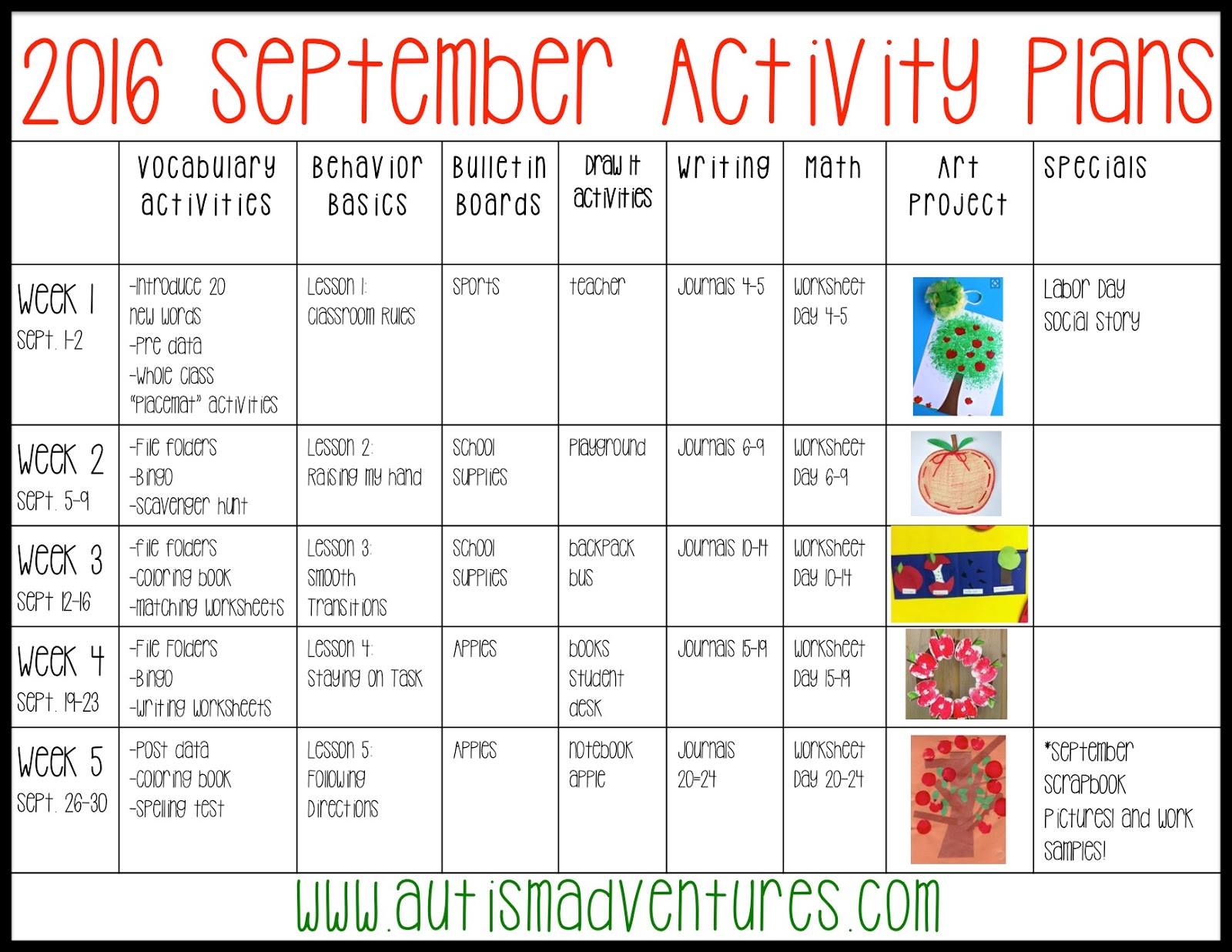 September Activity Plans Autism Adventures