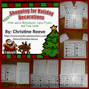 Shopping for Holiday Decorations for Practicing Money Free from Autism Classroom Resources