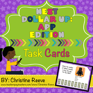 If your special education students are as motivated by technology as mine are, this app store version of next dollar task cards will be perfect. Motivating materials to practice means better maintenance of money skills. Also they are great for independent work systems.