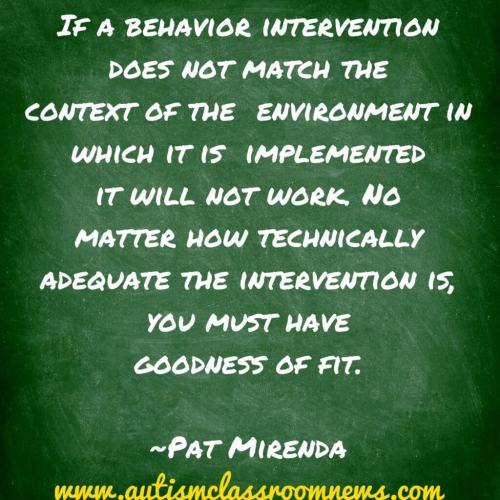 It's important when writing behavior plans that the environment and the strategies complement each other.