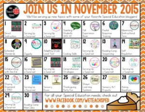 We Teach SPED November Blog Calendar 2015