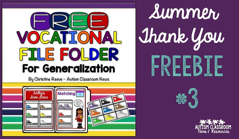 Summer Free File Folder Activity: Thank You #3