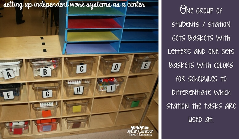 One group of students gets baskets with letters and one gets baskets with colors for schedules to differentiate which station the tasks are used at.