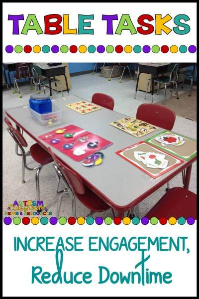 Table tasks are a way to keep your students engaged and reduce downtime. Check out why and how I use them in special education classrooms.